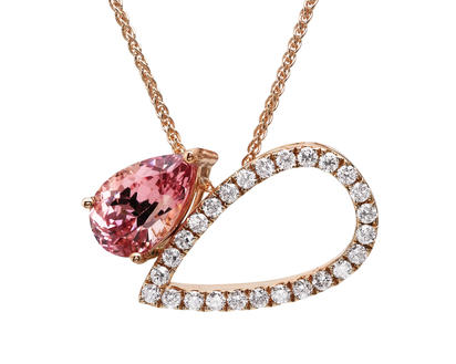 14K Rose Gold Lotus Garnet/Diamond Neckpiece | NPF226LG2RI
