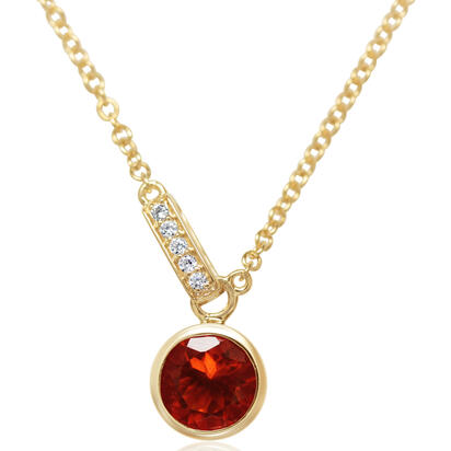 14K Yellow Gold Fire Opal/Diamond Necklace