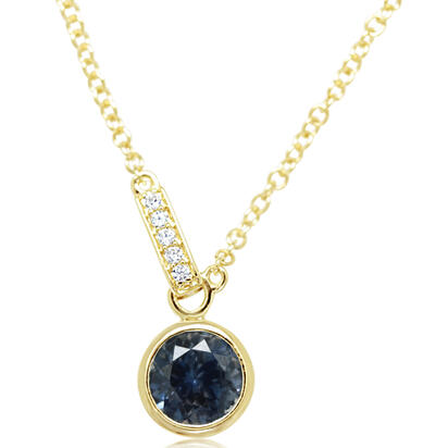 14K Yellow Gold Montana Sapphire/Diamond Necklace