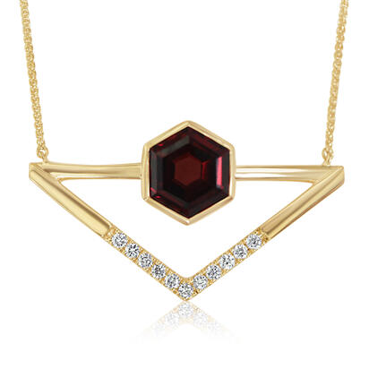 14K Yellow Gold Garnet/Diamond Neckpiece | NPF262G22CI