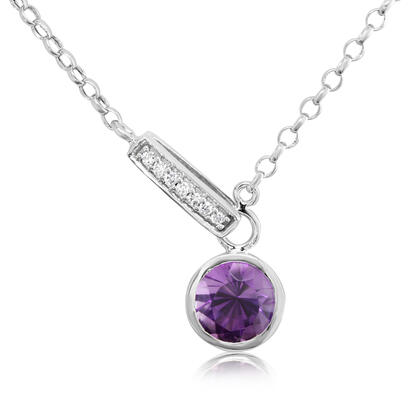14K White Gold Amethyst/Diamond Necklace | NPF850A22W