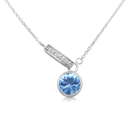 14K White Gold Blue Topaz/Diamond Necklace | NPF850B22W-D