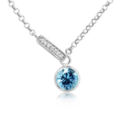 14K White Gold Blue Topaz/Diamond Necklace | NPF850B22W