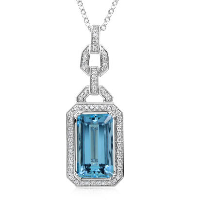 14K White Gold Aquamarine/Diamond Neckpiece | NQ0OC700701WI