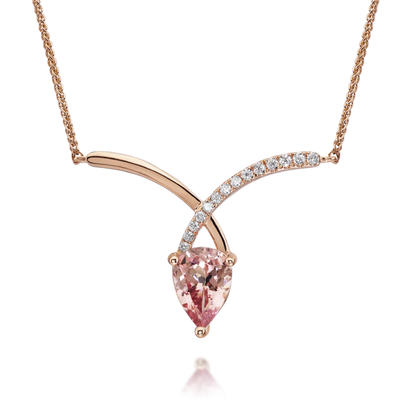 14K Rose Gold Lotus Garnet/Diamond Neckpiece | NCF001LG2RI