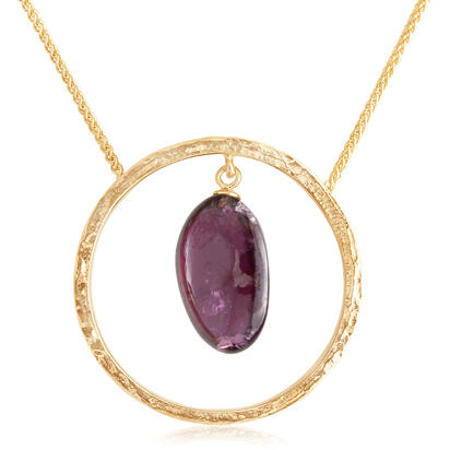14K Yellow Gold Purple Garnet Hammer Finish Neckpiece | NSR012GPXXXXC