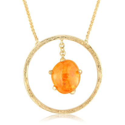 14K Yellow Gold Mandarin Garnet Hammer Finish Neckpiece
