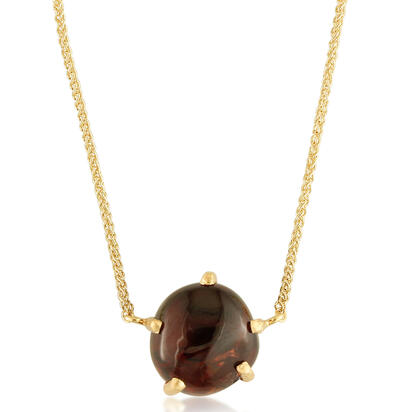 14K Yellow Gold Rhodolite Garnet Hammer Finish Neckpiece