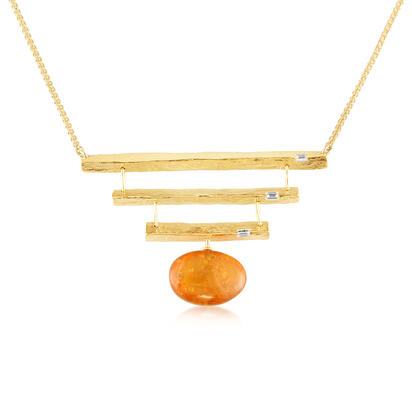 14K Yellow Gold Mandarin Garnet/Diamond Neckpiece