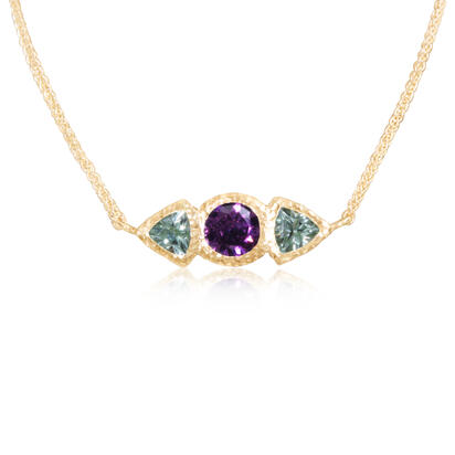 14K Yellow Gold Purple Garnet/Mint Garnet Neckpiece | NSR020GPMGXC
