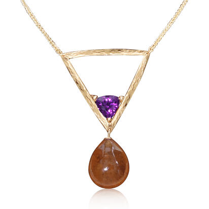 14K Yellow Gold Mandarin Garnet/Purple Garnet Neckpiece