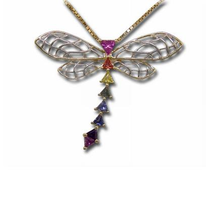 14K Yellow Gold/White Gold Rainbow Sapphire Dragonfly Pendant