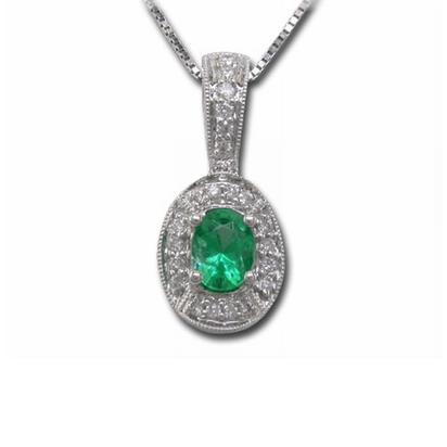 14K White Gold Emerald/Diamond Pendant | P48DPED2WI