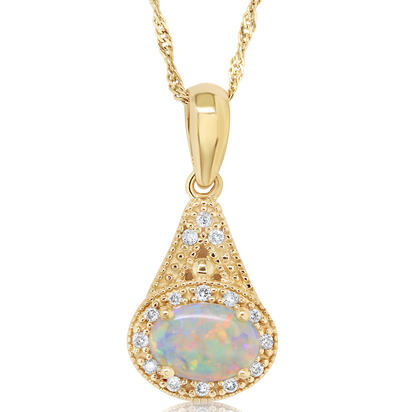 14K Yellow Gold #1 Opal/Diamond Pendant | P57DAIN1CI