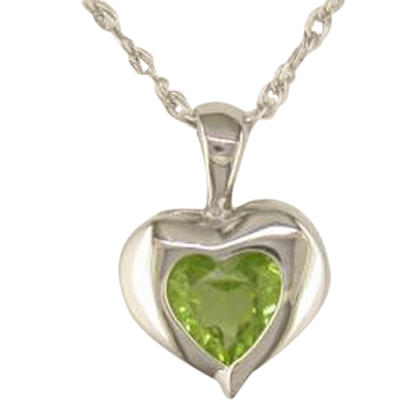 Sterling Silver 6mm Heart Peridot Pendant | P661AGBT2S