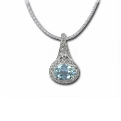 14K White Gold Aquamarine/Diamond Pendant | P86DAIQ2WI