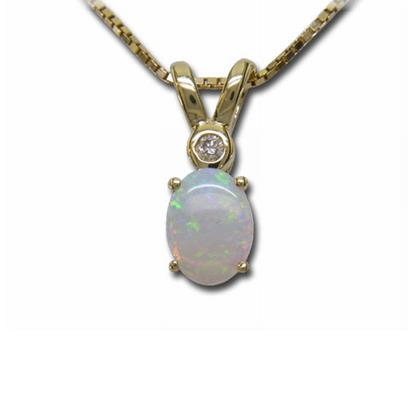 14K Yellow Gold Australian Opal with Diamond Pendant | P86DRN2I