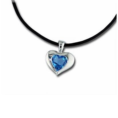 Sterling Silver 8mm Heart Blue Topaz Pendant | P881AGBB2S