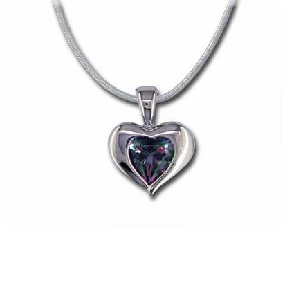 Sterling Silver 8mm Heart Mystic Fire Pendant | P881AGBMFS