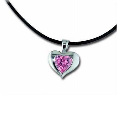 Sterling Silver 8mm Heart Pink Cubic Zirconia Pendant | P881AGBU4S