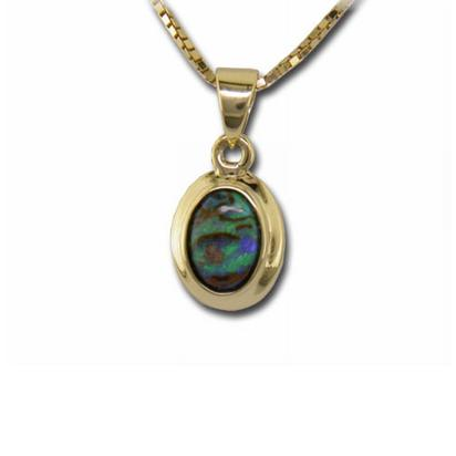 14K Yellow Gold Boulder Opal with Bezel Pendant | PB01W-1I
