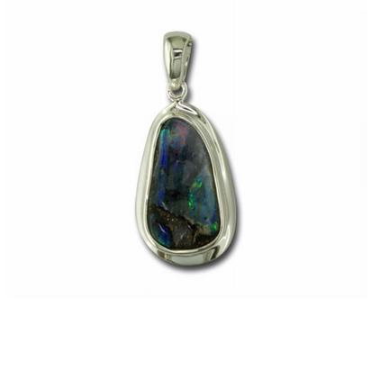 Sterling Silver Boulder Opal with Bezel Pendant | PB01WSI