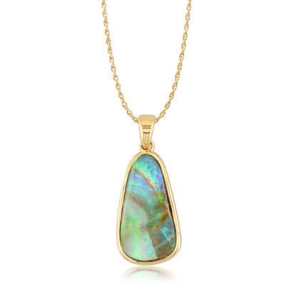 14K Yellow Gold Boulder Opal Medium Bail Pendant | PB02P-13I