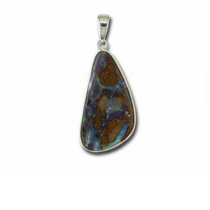 Sterling Silver Boulder Opal Medium Bail Pendant | PB02PS-2I