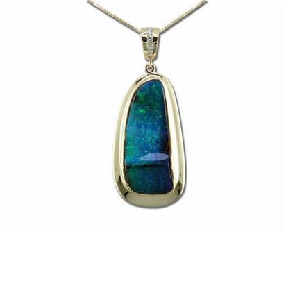 14K Yellow Gold Boulder Opal/Diamond Pendant | PBR0463A2CI-M
