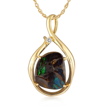 14K Yellow Gold Boulder Opal/Diamond Pendant | PBR2392A3CI