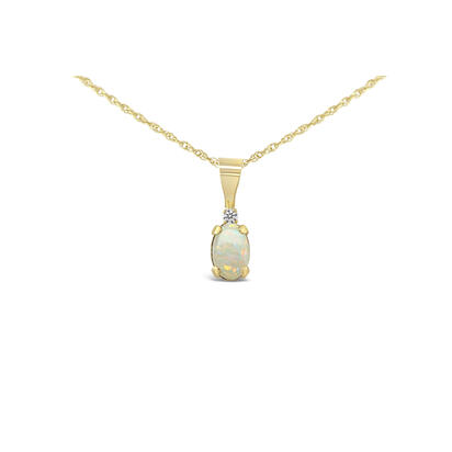 14K Yellow Gold 4x6 Oval Australian Opal/Diamond Pendant | PBS001N22K