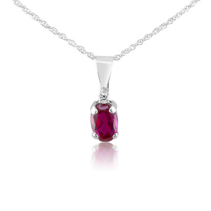 14K White Gold 4x6 Oval Created Ruby/Diamond Pendant with Chain | PBS001R92W-CH