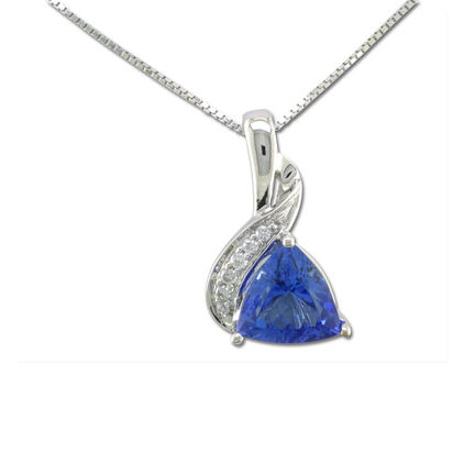 14K White Gold Tanzanite/Diamond Pendant | PCC022J23WI