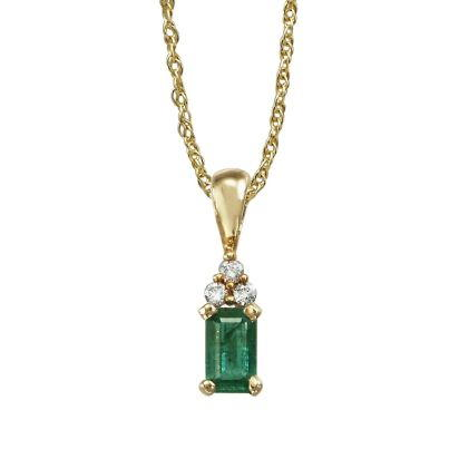 14K Yellow Gold Emerald/Diamond Pendant (With Chain) | PCC026E23CI-CH