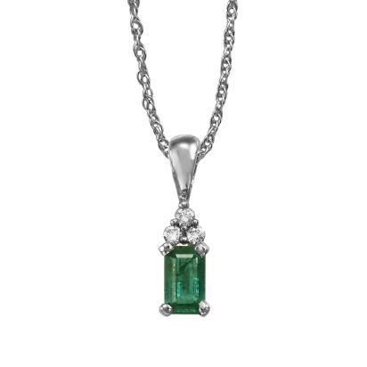 14K White Gold Emerald/Diamond Pendant (with Chain) | PCC026E23WI-CH
