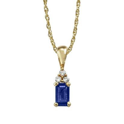 14K Yellow Gold Blue Sapphire/Diamond Pendant | PCC026S13CI