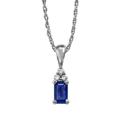 14K White Gold Blue Sapphire/Diamond Pendant (With Chain) | PCC026S13WI-CH