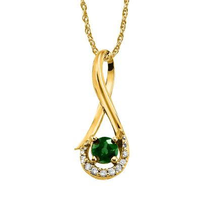14K Yellow Gold Emerald/Diamond Pendant (With Chain) | PCC034E23CI-CH