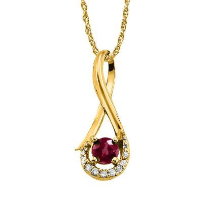 14K Yellow Gold Madagascar Ruby/Diamond Pendant | PCC034RM3CI