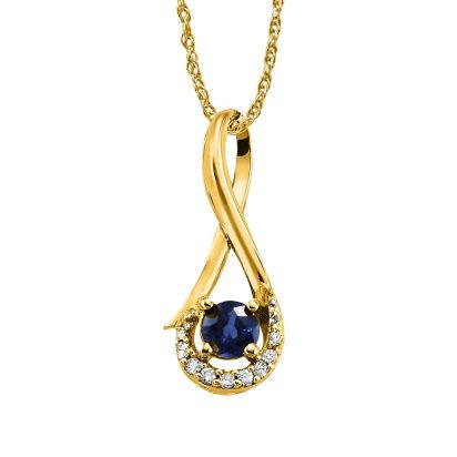 14K Yellow Gold Blue Sapphire/Diamond Pendant (with Chain) | PCC034S13CI-CH