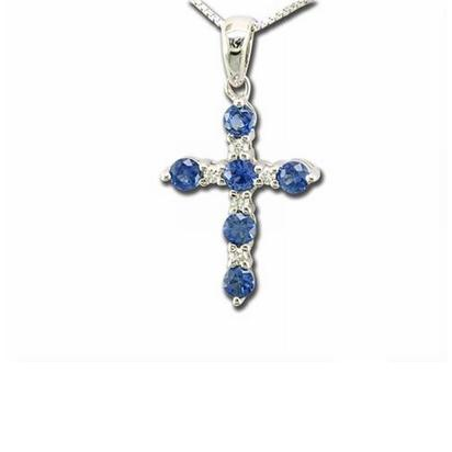 14K Yellow Gold Yogo Sapphire/Diamond Cross Pendant | PCC043Y23CI