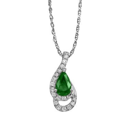14K White Gold Emerald/Diamond Pendant (With Chain) | PCC049E23WI-CH
