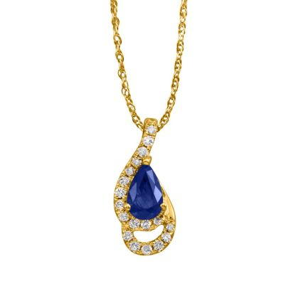 14K Yellow Gold Blue Sapphire/Diamond Pendant (With Chain)