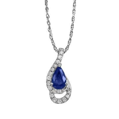 14K White Gold Blue Sapphire/Diamond Pendant (With Chain)