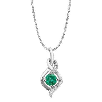 14K White Gold Emerald/Diamond Pendant (With Chain) | PCC077E23WI-CH
