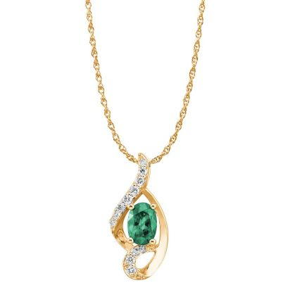 14K Yellow Gold Emerald/Diamond Pendant '0' | PCC078E23CI