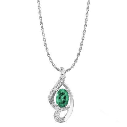 14K White Gold Emerald/Diamond Pendant '0' | PCC078E23WI