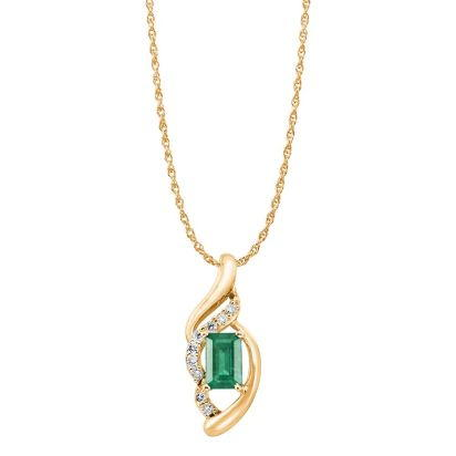 14K Yellow Gold Emerald/Diamond Pendant '0' | PCC079E23CI