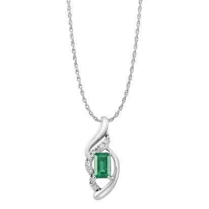 14K White Gold Emerald/Diamond Pendant '0' | PCC079E23WI