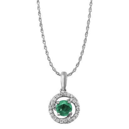 14K White Gold Emerald/Diamond Pendant (with Chain) -D' | PCC082E23WI-CH